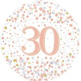 """30th Birthday Sparkling Fizz White 18"""" Foil Balloon"""