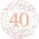 """40th Birthday Sparkling Fizz White 18"""" Foil Balloon"""