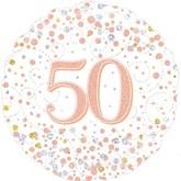 """50th Birthday Sparkling Fizz White 18"""" Foil Balloon"""