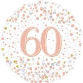 """60th Birthday Sparkling Fizz White 18"""" Foil Balloon"""