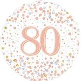 """80th Birthday Sparkling Fizz White 18"""" Foil Balloon"""