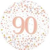 """90th Birthday Sparkling Fizz White 18"""" Foil Balloon"""