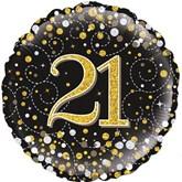 "21st Birthday Sparkling Fizz Black 18"" Foil Balloon"