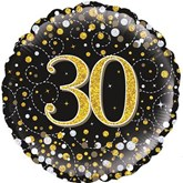"30th Birthday Sparkling Fizz Black 18"" Foil Balloon"