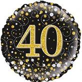 "40th Birthday Sparkling Fizz Black 18"" Foil Balloon"