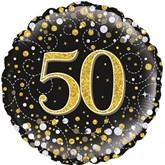"50th Birthday Sparkling Fizz Black 18"" Foil Balloon"