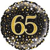 "65th Birthday Sparkling Fizz Black 18"" Foil Balloon"