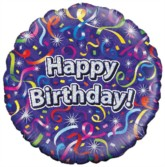 """18"""" Happy Birthday Streamers Holographic Foil Balloon"""