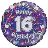 """18"""" 16th Birthday Streamers Holographic Foil Balloon"""