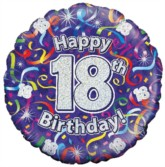 """18"""" 18th Birthday Streamers Holographic Foil Balloon"""
