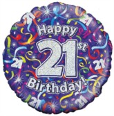 """18"""" 21st Birthday Streamers Holographic Foil Balloon"""