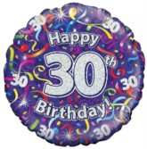 """18"""" 30th Birthday Streamers Holographic Foil Balloon"""