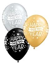 """Happy New Year Confetti 11"""" Latex Balloons 25pk"""