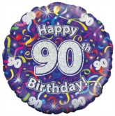 """18"""" 90th Birthday Streamers Holographic Foil Balloon"""