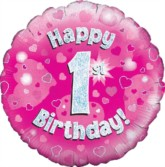 """18"""" 1st Birthday Pink Holographic Foil Balloon"""