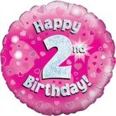 """18"""" 2nd Birthday Pink Holographic Foil Balloon"""