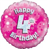 """18"""" 4th Birthday Pink Holographic Foil Balloon"""