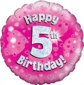 """18"""" 5th Birthday Pink Holographic Foil Balloon"""
