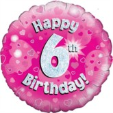 """18"""" 6th Birthday Pink Holographic Foil Balloon"""