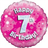 """18"""" 7th Birthday Pink Holographic Foil Balloon"""
