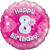 """18"""" 8th Birthday Pink Holographic Foil Balloon"""