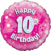 """18"""" 10th Birthday Pink Holographic Foil Balloon"""