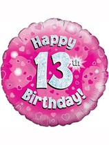 """18"""" 13th Birthday Pink Holographic Foil Balloon"""