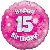 """18"""" 15th Birthday Pink Holographic Foil Balloon"""