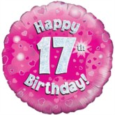 """18"""" 17th Birthday Pink Holographic Foil Balloon"""