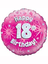 """18"""" 18th Birthday Pink Holographic Foil Balloon"""