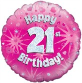 """18"""" 21st Birthday Pink Holographic Foil Balloon"""