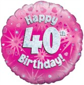 """18"""" 40th Birthday Pink Holographic Foil Balloon"""