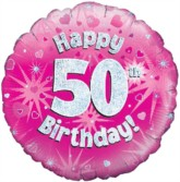 """18"""" 50th Birthday Pink Holographic Foil Balloon"""