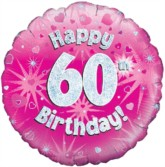 """18"""" 60th Birthday Pink Holographic Foil Balloon"""