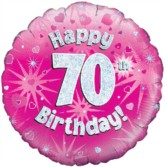 """18"""" 70th Birthday Pink Holographic Foil Balloon"""