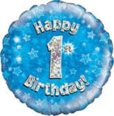 """18"""" 1st Birthday Blue Holographic Foil Balloon"""