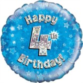 """18"""" 4th Birthday Blue Holographic Foil Balloon"""