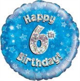 """18"""" 6th Birthday Blue Holographic Foil Balloon"""