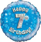"""18"""" 7th Birthday Blue Holographic Foil Balloon"""