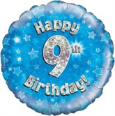 """18"""" 9th Birthday Blue Holographic Foil Balloon"""