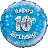 """18"""" 10th Birthday Blue Holographic Foil Balloon"""