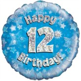 """18"""" 12th Birthday Blue Holographic Foil Balloon"""