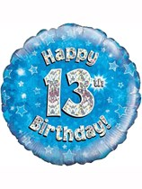"""18"""" 13th Birthday Blue Holographic Foil Balloon"""