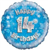 """18"""" 14th Birthday Blue Holographic Foil Balloon"""
