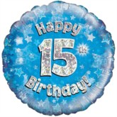"""18"""" 15th Birthday Blue Holographic Foil Balloon"""