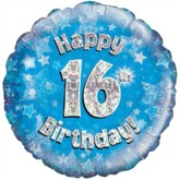 """18"""" 16th Birthday Blue Holographic Foil Balloon"""