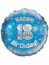 """18"""" 18th Birthday Blue Holographic Foil Balloon"""