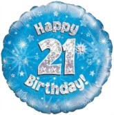 """18"""" 21st Birthday Blue Holographic Foil Balloon"""