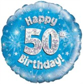 """18"""" 50th Birthday Blue Holographic Foil Balloon"""