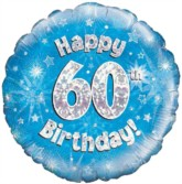 """18"""" 60th Birthday Blue Holographic Foil Balloon"""